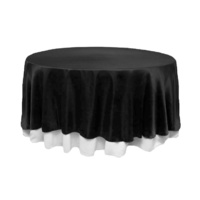 Black Satin Round Tablecloth/Overlay  - 228cm Diameter