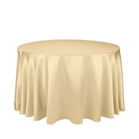 Light Gold Satin Round Tablecloth/Overlay  - 228cm Diameter