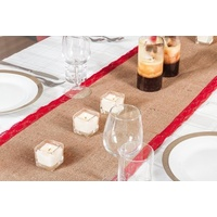 Burlap and Lace Vintage Hessian Table Runner - Red