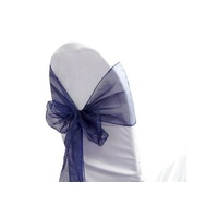 Pack of 5 Organza Chair Sashes - Navy Blue