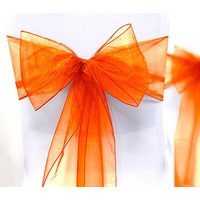 Pack of 5 Organza Chair Sashes - Orange
