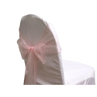 Pack of 5 Organza Chair Sashes - Light Pink