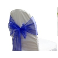 Pack of 5 Organza Chair Sashes - Royal Blue
