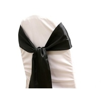 Pack of 5 Satin Chair Sashes - Black