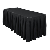 Table Skirt Box Pleat Polyester (5.2m) w/hook& pile tape - Black
