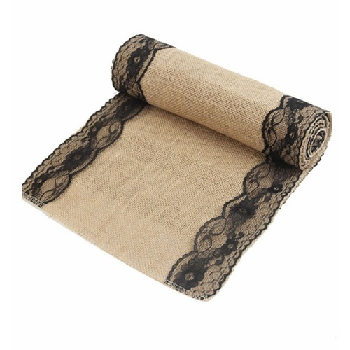 Burlap and Lace Vintage Hessian Table Runner - Black