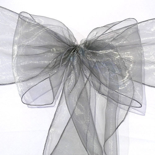 Pack of 5 Organza Chair Sashes - Silver