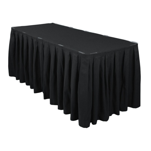 Table Skirt Box Pleat Polyester  (3m) w/hook& pile tape - Black