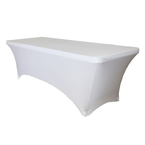 6ft (183cm)  Rectangular Spandex Tablecloth - White