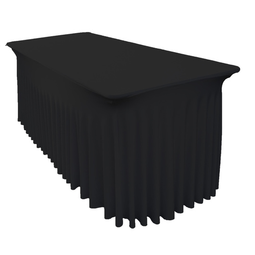 6 Ft (183cm) Rectangular Spandex Tablecloth with Inbuilt Skirt - Black